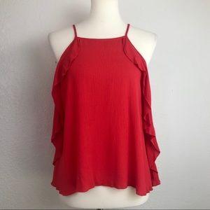 Mossimo Red Ruffle Sleeveless Top Size XS
